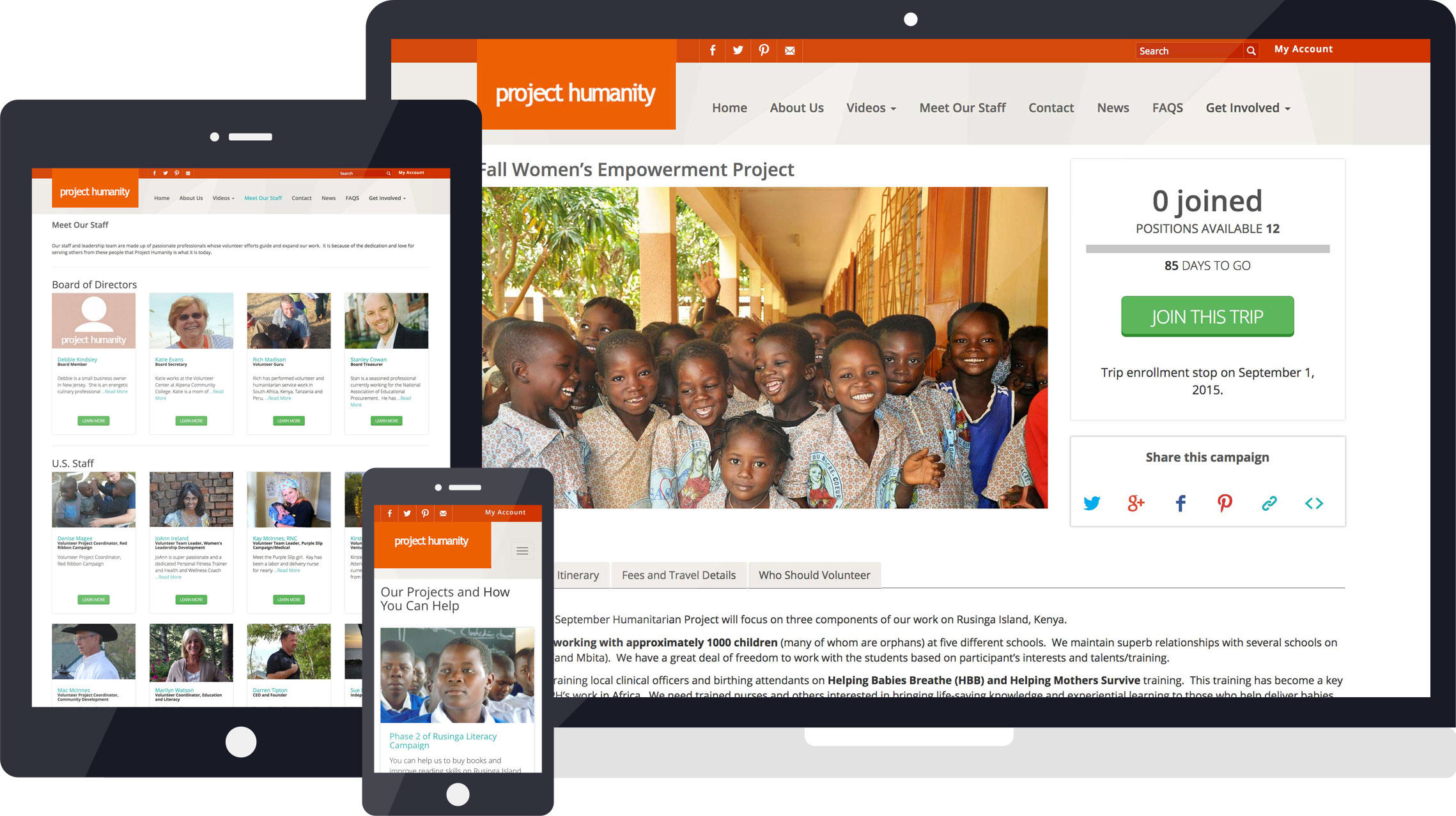 Project Humanity responsive web design